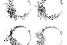 kresby květinových věnečků