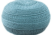 Crochet pouf and pillows