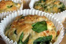 fetta,kaas,spinazie muffin