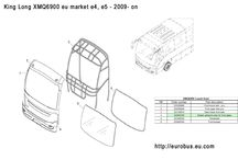 Xiamen King Long XMQ6900 side glasses / Drawings of positions of side glasses for King Long XMQ6900 9 meters coach model