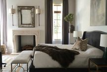 "Dreamy Master Bedrooms / Most of my pictures are all in ""greige""!  Love bedrooms that are soft in texture and color free of chotskies!  Any ceiling decor is an extra plus!  Love the use of chandeliers in the bedroom, but I could not live without my ceiling fan!!"