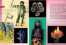 "SS 18 / Psychotropical - blur between real life and virtual life. Nature has a heightened, artificial form. Exaggeration: exotic brights, acidic luminous yellows, contrast.  Orange key colour. Black, navy and deep greens contrast. Acidic greens.  Escapism, seek out and celebrate a more sensual side of the world around us. Our focus shifts towards experiences - ""hyper"". Experiences to induce positive experiences. Silhouettes - beach-bar, comfortable, simple, fluid to make patterns stand out"