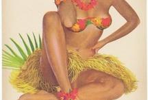 Oturan Hawai kızı
