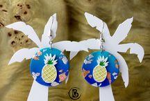 boucles d'oreilles pour un été tropical / collection artisanale de boucles d'oreilles exotiques et tropicales en lien avec la mode de cet été