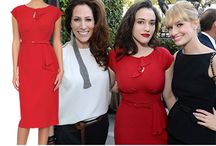 Rita Dress - As worn by Holly Willoughby, Kat Dennings & Ashleigh Graham / Rita Dress in Lipstick Red: A ladylike style that looks great at any age: demure, fitted fashion for women with bigger busts. The neat, fitted shape of this midi length pencil dress accentuates curves and nips in at the waist - highlighted by the accompanying, matching thin belt. The vivid Lipstick Red colour way combined with the keyhole neckline that doesn't divulge too much, this dress fits big boobs from C to HH cup sizes and comes in Lipstick red, Aubergine and Green.