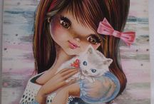 Art Postcards - Big Eyed Art / Various works from Francisca Gallarda Garós, etc.. / by Bona Bonitta