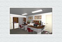 Oficina DO01 / Amueblamiento para dos oficinas, con diferentes acabados y distribuciones.