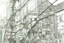 Shanghai. China. Urban sketch / Plein air sketches by Evgeny Bondarenko Old and modern architecture of Shanghai.