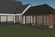 Outbuildings - guesthouses design - production / Stapelbouw combinatie met eiken frame - aan te bouwen aan bestaande woning .
