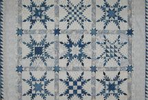 quilts, blue and white