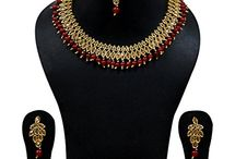 Indian Bollywood Necklace Set Gold Tone Stone Pearl Women Wedding Wear