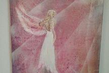 angel art / platno,akryl,struktura ,30x40, spray, 40 eur