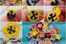 gombokból készített virágok