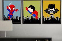 Nursery Themes // Super Heroes! / Bright colors and plenty of Heroes to go around! Superman, Batman, Spiderman, The Flash, Captain America, Big Boy Room