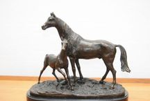 PJ Mene Bronzes / Large range of PJ Mene bronzes. Mene was a French sculpturist who worked out of Paris in the 1800s and specialised mainly in animals - particularly bronzes horse with subjects like the Accolade. Mene also made bronze hunters, dogs, hunting and figural scenes.