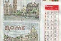 Vyšívání města,státy,mapy