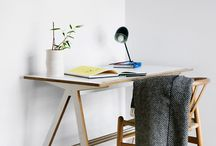 A Desk / The desk has a tilting worktop and pen tray. The purity of the A-frame complements any home office. The desktop size is just right for a computer plus your files and folders.