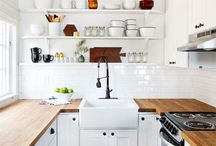 Kitchen / Thinking black kitchen,timber bench,white tiles (think Im over subway but I have a tonne in storage and trying to be thrifty!), open shelves, timber floors.... Or white bench? With timber open shelves?