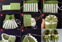 Zapatitos de bebe y adultos / Crochet y palillos