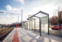 Bus Shelters / A series of shelters with optimized designs for functional elements.
