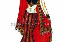 Indian Fashion Illustrations / #Indian #Fashion #Illustrations #Skirts #Tops #Lehenga #Anarkali #SalwarKameez #Saree #Sketches #Drawings