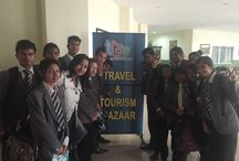 Students visit Travel and Tourism Bazaar, 2015. / Students of 'BBA Hospitality, Travel and Tourism' attended the Travel and Tourism Bazaar in Shillong with Ms. Carolina Khyriem from the Department of Tourism, UTM. The event brought travel agents, hoteliers, adventure experts and tourism boards under one roof. Sparking curiosity in each mind, the visit helped attendees understand the vibrant tourism industry better.