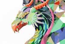 Polygonal art / polygonal animals and polygonal fruits made with  molotow marker and love