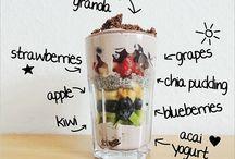 healthy breakfast / breakfast with fruits, oats, pancakes....