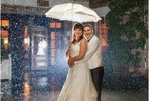 Wedding portraits in the rain.