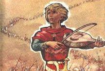 Le chevalier ménestrel / Roman de Gabrielle Salzy  Injustement accusé d'une vilenie et ne pouvant faire la preuve de son innocence, Olivier, quatorze ans, fils cadet du baron de Rocquefeu, quitte le domaine ancestral.   Il n'y veut revenir qu'après avoir accompli une action d'éclat telle que l'on ne puisse plus douter de son honneur et de son courage.