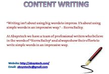 Content Writing Services / At Absyntech, our content writer and developer has 4 years of experience channelizing customer requirements into fruitful outcome which resulting in boosting business insights with revenue graph. s about content writing.