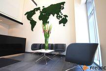 grüne Wände und Objekte / Selbst hergestellte Mooswände der Freund Moosmanufaktur und Inspirationen