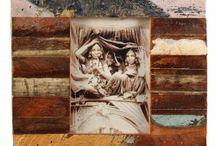 """""""Les-3-Singes"""" - Cadres photo en bois de récupération / de recyclage. Provenance: Inde / «  Les 3 Singes » sont spécialisés dans de nombreux objets principalement d'Inde et d'Iran, et issus à 100 % du recyclage, fabriqués artisanalement. Chaque cadre proposé sur notre site www.kabambi.com est une PIECE UNIQUE !"""