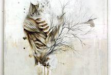 Herbivore / Nunzio Paci title: Herbivore dim: cm 80x70 tecnique: pencil, oil, enamel, resins on canvas