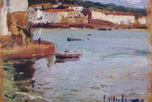 Cadaqués. Desde Llané Gran. / Eliseo Meifrén Roig. Pinturas al óleo de Cadaqués desde la playa Llane Gran.
