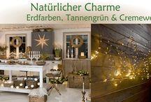 Natürliche Weihnachtsbeleuchtung / Weihnachtsbeleuchtung - Natürlicher Charme: Wenn rustikale Materialien und Tannengrün eine zauberhafte Verschmelzung mit Natur-, Kupferfarben und cremeweißen Highlights eingehen. Lasst Euch von unserer Weihnachtwelt inspirieren und verzaubern!
