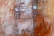 Paintings of Native American Indians / Mixed Media Paintings by Tessa Peskett
