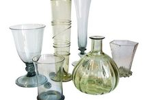 Unique hand blown glassware / Hand blown glassware with typical fiber decoration