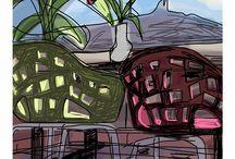 Mariscal BARCELONA COLLECTION / Mariscal ha ilustrado como nadie Barcelona. Su ciudad de adopción es mediterránea, alegre, colorida. En sus prints se  reconocen edificios como La Casa Milá, calles como el Paseo de Gracia o la visión de la playa en verano con todos sus detalles..  #barcelona #Mariscal #MariscalStore #ciudad #artwork #digitalart #print #illustration