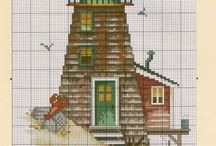 Cross Stitch lighthouses