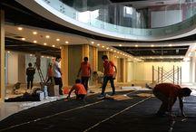 LEO Fitness / Một số hình ảnh thi công sàn tre tại LEO Fitness - 165 Thái Hà - Hà Nội