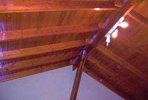 Cielos con vigas de madera / Cielos con vigas en Pino Oregón