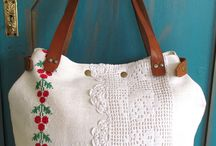 Hand embroidery bag/upcycled antique emroidery
