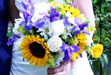 Irises,Sunfowers & White Roses
