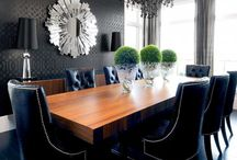 Navy chairs black wood table