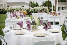 J&J / Shades of muted purple and fuchsia linens with bright pink, purple and white floral arrangements comprised of Callas, Roses, and Orchids!