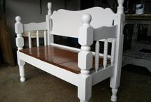 Bench seats made out of bed framed