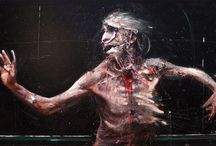 """Olivier de Sagazan / Olivier de Sagazan is a French painter, sculptor, and performance artist. De Sagazan's dark illustrative paintings are built from layers of thick oil paint creating grotesque flesh type textures. His long-running performance work """"Transfiguration"""" is built upon the act of applying clay and paint to the artist's body and face. While de Sagazan works in multiple disciplines his art keeps a frightening and constant approach."""