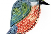 Embroidered Birds / appliquéd and stitched birds, lifelike and stylised, designs and finished pieces