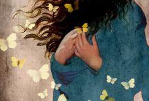donna vento farfalle